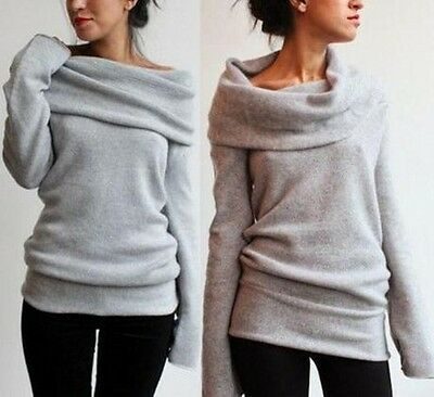 AU Women's Long Sleeve Loose Knitted Sweater Ladies Casual Jumper Pullover Tops