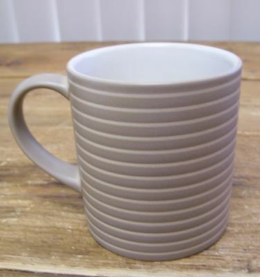 Denby Coffee Mug Cup Tan Light Brown Off White Lines 1809 Pottery Heavy England