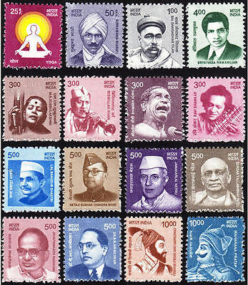 INDIA 2016 Definitive Series, Set of 16 MINT Stamps MNH