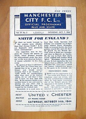 MANCHESTER CITY v CREWE ALEXANDRA 1944/1945 *Good Condition Football Programme*