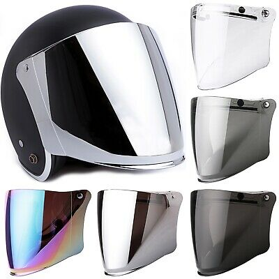 Universal Flip Up Down Visor Shield Lens or 3-Snaps for Half Open Face Helmets