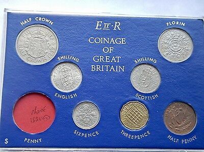 1959 Set of all Issued coins Halfpenny to Halfcrown on Card