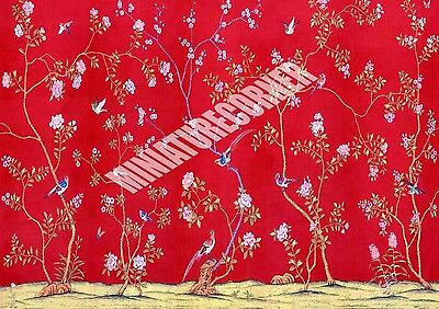 Dolls House Wallpaper Mural Red Birds 1/12th scale Quality Paper #21 Miniature