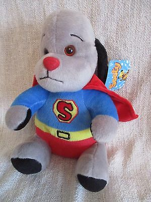 THE SOOTY & CO SHOW - Superman Sweep beanie bean  plush soft toy NEW Supersweep