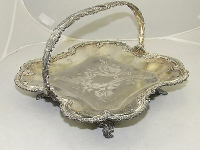 "Antique Meriden Silver Victorian Square Basket Tray Plate,Etched Rose,10.5""wide"