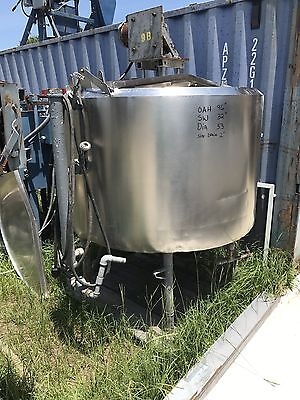 300 Gallon Stainless Steel Mix Tank Vertical On Legs , Insulated , Open Top