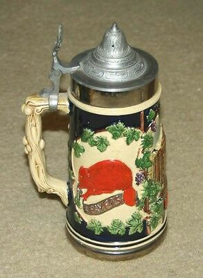 Vintage 1953 Eric Mihan  M. I . T.  Antique University Stein Mug With Lid