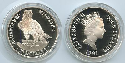 G3053 - Cook Islands 50 Dollars 1991 KM#120 Falke PROOF RAR Silber