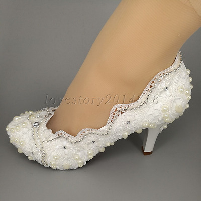"""3"""" / 4"""" white ivory lace crystal pearl Wedding shoes Bridal high heels size 5-10"""