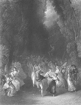GARDEN PARTY IN PARK PASTORAL FESTIVAL COUNTRY FEAST ~ 1851 Art Print Engraving