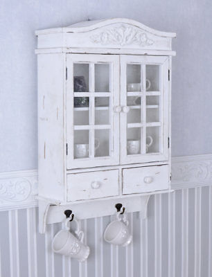 vintage h ngeschrank weiss schrank shabby chic h ngevitrine wandschrank pba005 eur 27 40. Black Bedroom Furniture Sets. Home Design Ideas
