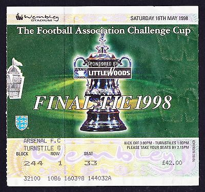 1998 FA Cup Final ARSENAL v NEWCASTLE UNITED *VG Condition Ticket*