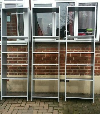 3 X Tall Grey Office Bookcase Shelves Shelving Unit Stand...we Can Deliver