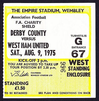 1975 Charity Shield DERBY COUNTY v WEST HAM UNITED *VG Condition Ticket*