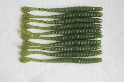 10 x Flat Tail Drop Shot Soft Worm Lures Perch Pike Bass LRF Jelly Bass Mackerel