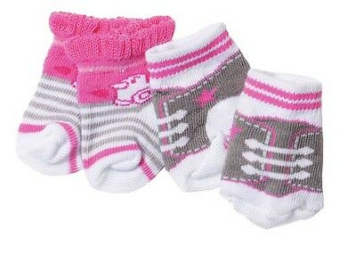 Baby Born Two Pairs Of Socks Pink & Grey Brand New In Pack 823576
