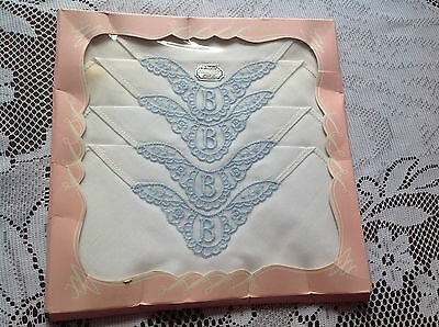 Ladies Boxed Vintage Embroidered Linen Hankies Blue & White Nylon Trimmed