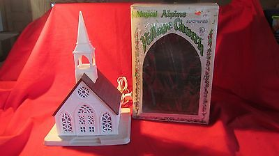 Vintage Alpine Village Christmas Light Up Church By Regency  In Box 9 Inches