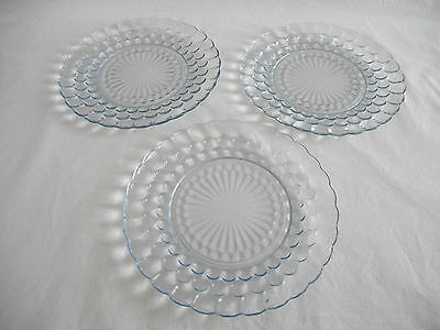 3 Vintage HOCKING BLUE BUBBLE DINNER PLATES