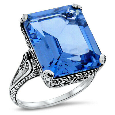 Victorian 925 Sterling Silver 3 Stone Royal Blue SIM Sapphire Ring Size 5 KN-1583