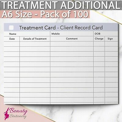 Treatment Additional Client Record Card for Nail/Beauty/Hair/Massage.. x100, A6
