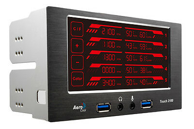 "NEW! Aerocool Touch 2100 Lcd Touch Screen 5 Fan Controller 2 X 5.25"" 2 X Usb3.0"