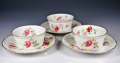 A. Lanternier Limoges Three Ramekins and Under Plates
