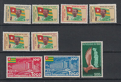Togo: 1960 Independence commemoration set of 9 stamps. SG253-261.MUH/MNH.Cheap
