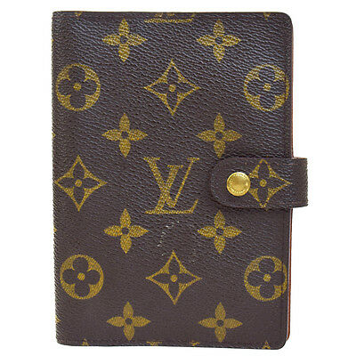 Auth LOUIS VUITTON Agenda PM Notebook Cover Monogram Canvas Brown R20005 08F565