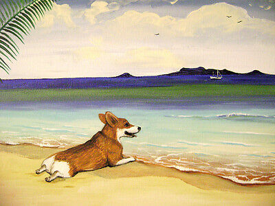 8x10 PRINT OF PAINTING PEMBROKE WELSH CORGI SEASCAPE BEACH FOLK ART RYTA DOG