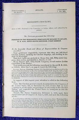 1900 MISSISSIPPI CHOCTAW Indians Five Civilized Tribes Recognition Request
