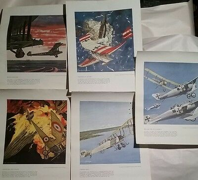 Lot Of 5 Vintage Leach Corporation Heritage Of The Air Prints WWI