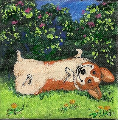 Print Of Painting Pembroke Welsh Corgi Folk Ryta Flowers Spring Funny Dog Pet