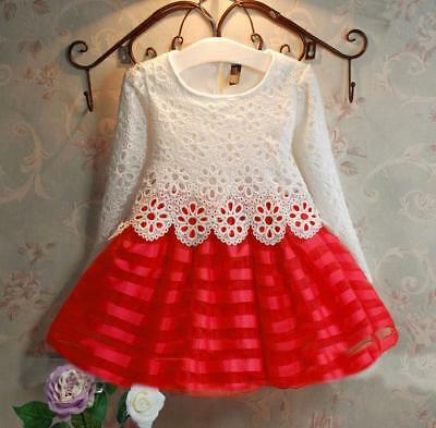 Fashion Kids Girls Toddlers Long Sleeve Lace Floral Bubble Dress Christmas Dress