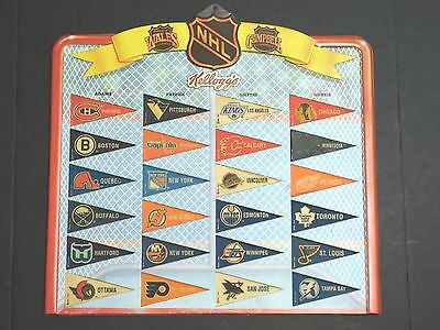 Complete Set of 92-93 Kellogg's NHL Hockey Pennants / Banners in Display Case