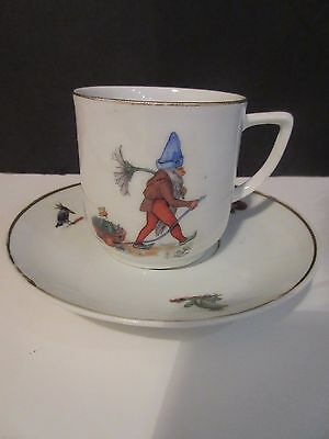 Vtg Gnome Child's Porcelain Tea Cup and Saucer GERMANY