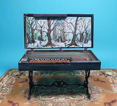 Dollhouse Miniature1:12 OOAK Haunted CLAVICHORD Spooky Painted Scene, Halloween