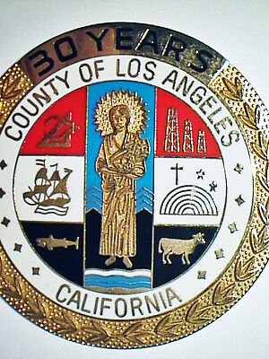 Large VINTAGE COUNTY of LOS ANGELES 30 YEARS BRASS CLOISONNE EMPLOYEE MEDALLION
