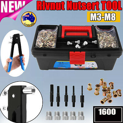1600PCS Blind Rivet Nut Rivnut Nutsert Insert Tool Rivnuts Set Kit M3 to M8 Box