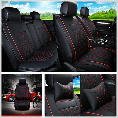 Black & Red Deluxe Edition 5-Seat Car PU Leather Seat Cover Neck & Lumbar Pillow