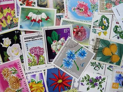 100 Thematic Flowers/Plants Stamps Mainly CTO/Mint Unmounted Singles & Sets