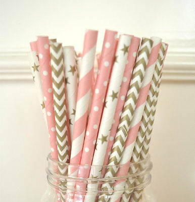 25pcs Gold and Pink Mix Polka Dot Paper Straws Wedding Drinking Party Tablewear