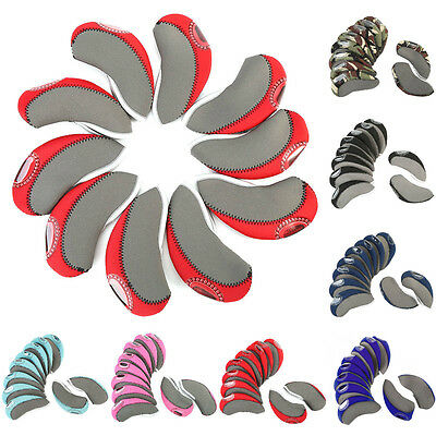 10Pcs Flexible Golf Club Iron Cover Headcovers Protector W/ Transparent View DY