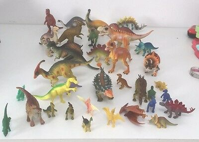 Over 30!! Lot Bundle Plastic Dinosaurs Dinos Animals Various Sizes Vgc