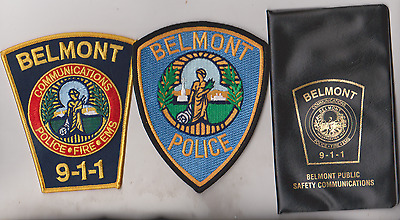 Belmont MASS Police & 9-1-1 patches & plastic notebook cover