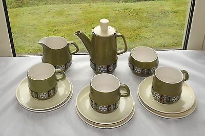 Vintage Retro Carlton Ware Tapestry Pattern Coffee Set 12 Pieces Cups Milk etc