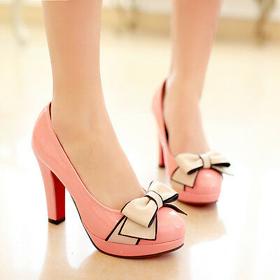 NEW Women's bow Pointed Toe Shoes Leather Platform Pumps stiletto High Heels