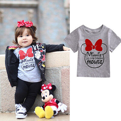 Baby Kids Boys Girls Minnie Mouse Tops T-shirt Summer Clothes Short Sleeve 0-4T