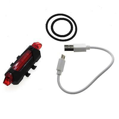 Red USB Rechargeable LED Bicycle Bike Rear Tail Light Lamp Flashlight Reflector