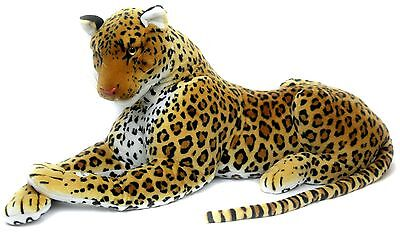 Extra Large Giant Lying Cuddly Leopard Plush Soft Toy With Sound